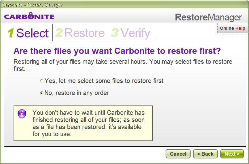 Specifying files to be restored first